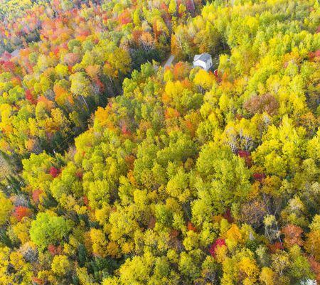 A House Around by Colorful Autumn Woods in New Hampshire, USA Stok Fotoğraf