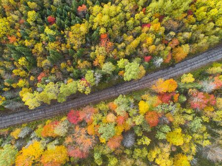 Aerial view of Railway Track in Beautiful Autumn Stok Fotoğraf - 131488056