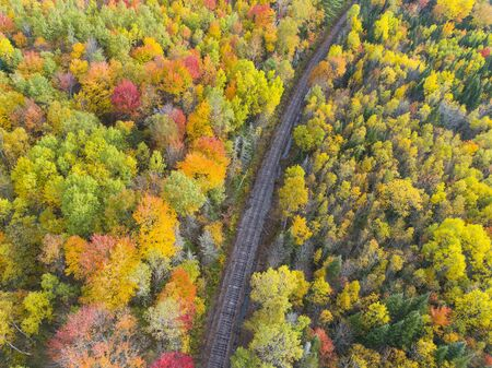 Aerial view of Railway Track in Beautiful Autumn