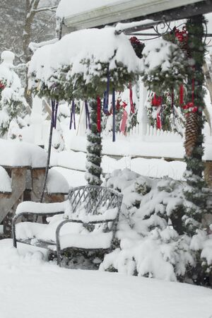 Christmas decoration covered by snow