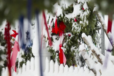 Snowstorming on Christmas Decorations in New England, US