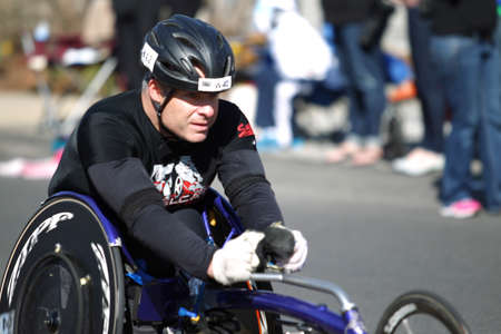 118th Boston Marathon took place in Boston, Massachusetts, on Monday, April 21 (Patriots' Day) 2014. Disabled Wheelchair Runners. Editöryel