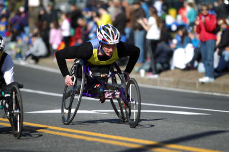 118th Boston Marathon took place in Boston, Massachusetts, on Monday, April 21 (Patriots' Day) 2014. Disabled Wheelchair Riders.