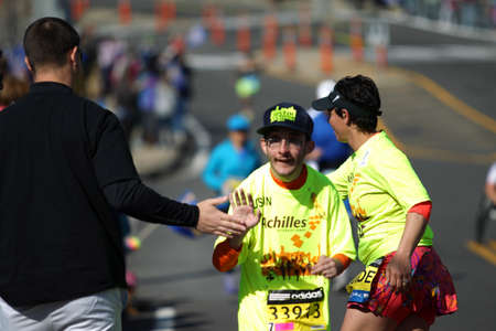 118th Boston Marathon took place in Boston, Massachusetts, on Monday, April 21 (Patriots' Day) 2014. Disabled Runners.