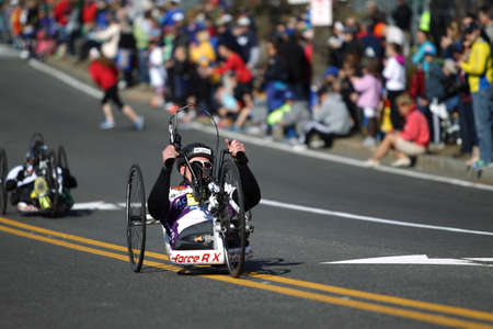118th Boston Marathon took place in Boston, Massachusetts, on Monday, April 21 (Patriots' Day) 2014. Disabled Wheelchair Riders