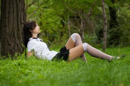 sexy schoolgirl: Beautiful student in the park Stock Photo