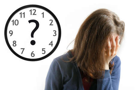 retardation: Dramatic decision concept, desperate girl face her face, clock with question mark on white background Stock Photo