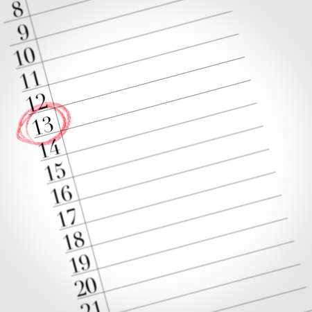 Calendar shows the 13th day of the month, detail of one day marked with a red circle