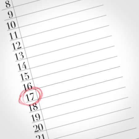 17 번은이 빈 아젠다의 숫자로, 한 달의 어느 날에 초점을 맞추고 있습니다.