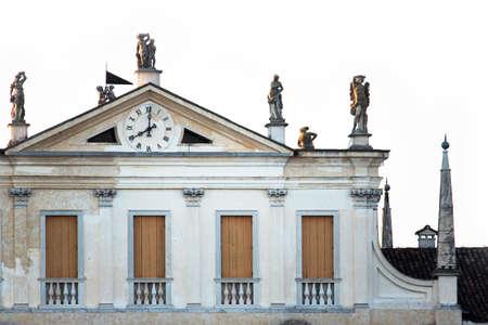 Villa manin, sculptures on a famous building in friuli-venezia giulia, italy