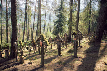 cemetery in the wood, the tombs are in Brunico (Italy)