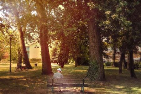 canicule sur les personnes âgées, senior assis sur un banc dans un parc (les températures chaudes sont dangereuses pour les personnes âgées)