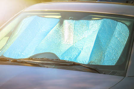 Sunshade on the windshield. Protection from the heat of the sun