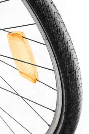 zoom on bicycle wheel, detail of healthy transport
