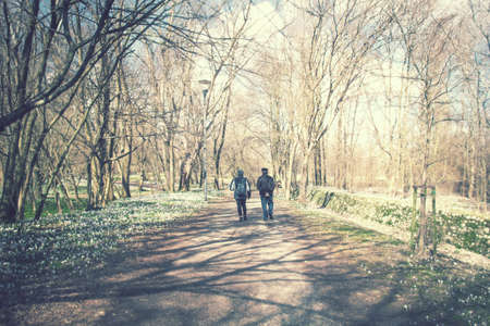 couple walking on path in scenic park, lasting relationship concept in the nature