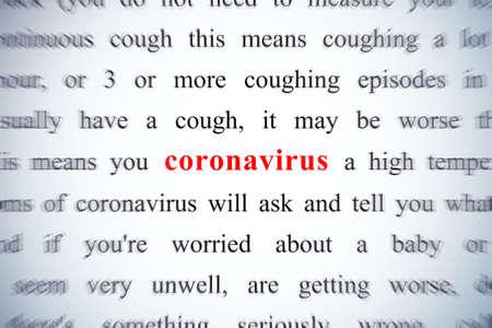 coronavirus red word, concept on focus (zooming effect) Фото со стока