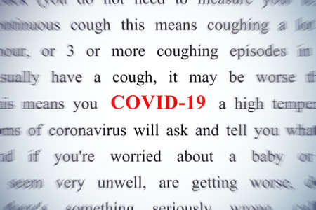 COVID-19 red word, focus on this keyword