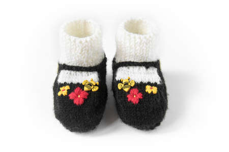 children shoes made of wool, sweet baby booties with honeybee decoration