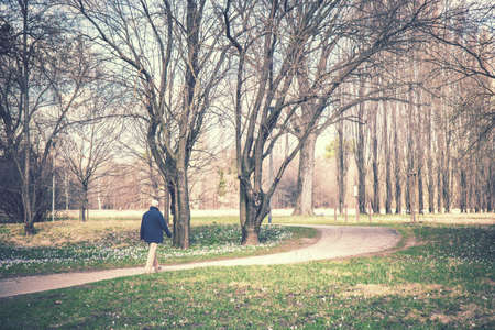 man walking at the park retro style picture, senior relaxing in the nature