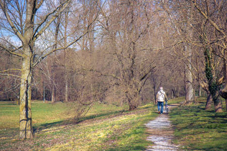 senior man walking, gray haired relaxing in the nature with bike Фото со стока