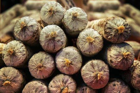 closeup of italian salami, front view of typical salami Фото со стока