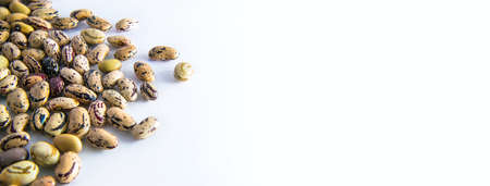 horizzontal picture with beans, the legumes are on white background