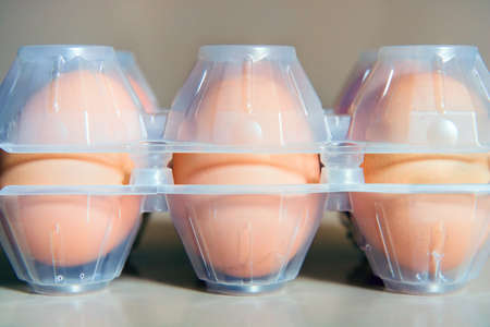 Eggs in plastic box with copy space, it is possible to insert texts and graphics around the main subject