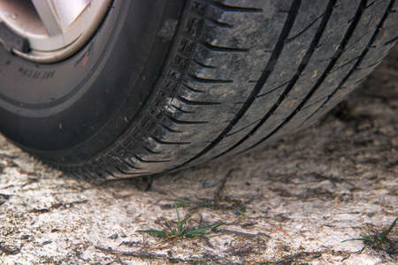 tire on the ground, detail of off road car