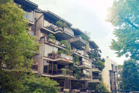 Green residential building. Vertical Forest, condominium in Udine (Italy) with a lot of plants