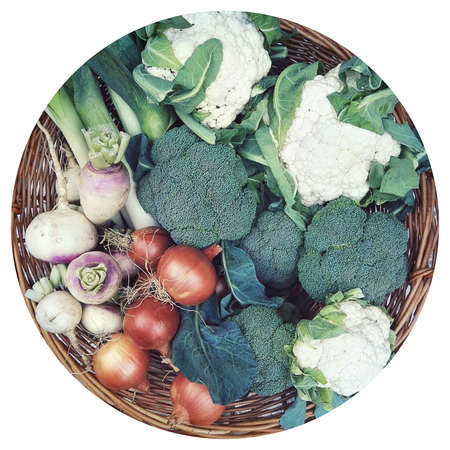 Vegetables in a circle shape. Top view of onions, turnips, spinach, Cauliflower and celery
