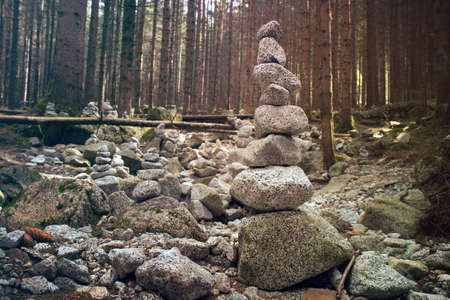 Stack of stones. Rocks in equilibrium in temperate coniferous forest Фото со стока