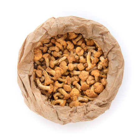 top view of cantharellus, mushrooms in a paper bag on white background (the food has just been picked in the woods)