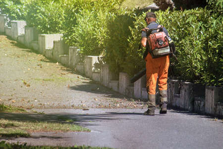 city sweeper cleaning a street, worker using leaf blower