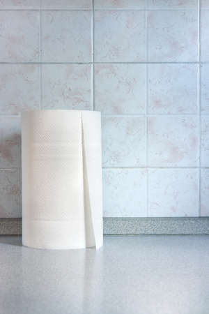 Roll of paper towels. Vertical image of the object on the kitchen table