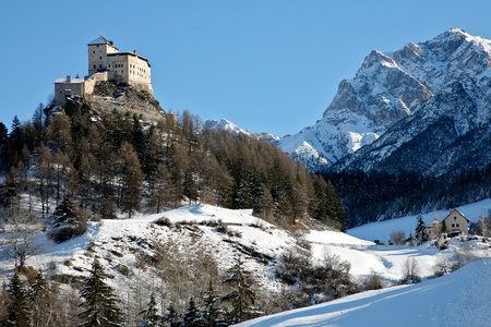 The castle of Tarasp in the winter photo