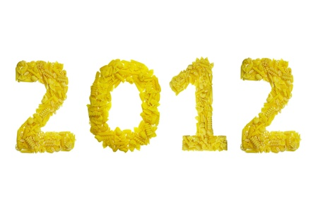 2012 number made with pasta for new year photo