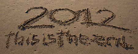 2012 this is the end written on the beach photo