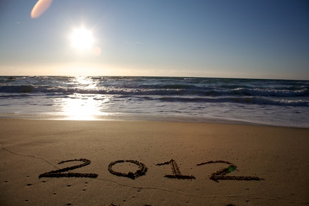 2012 written on the beach horizontal photo
