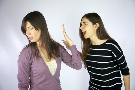 Girls shouting at each other strong