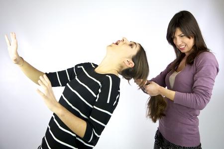 Girl pulls hard very long hair