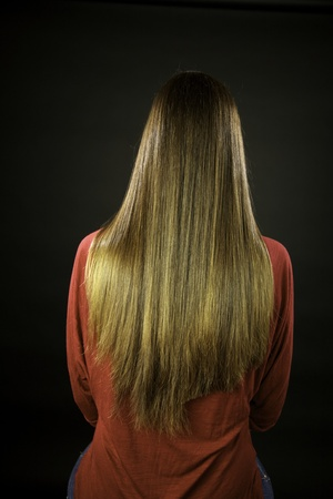 long hair after halfway beeing cut with split ends photo