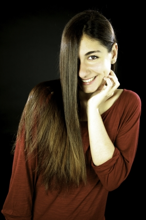 Young female model with amazing straight long hair smiling Stock Photo - 13647228