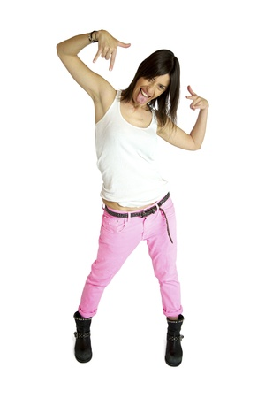 female model with tongue out and sign of I love you isolated white background photo