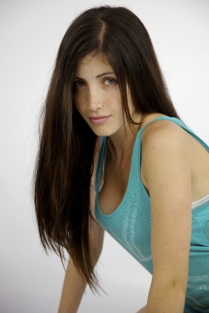 Young female model with frecles and amazing hair photo