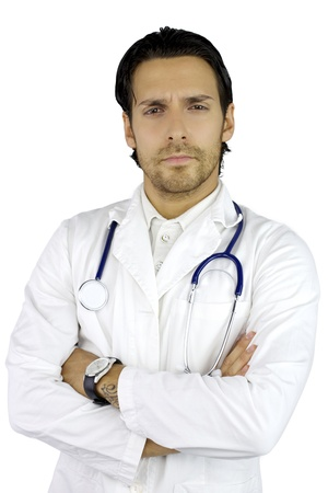 Serious good looking doctor with beard standing