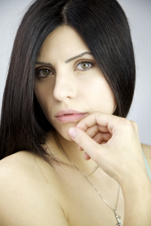 Gorgeous female model with green eyes and big lips Stock Photo - 14657831