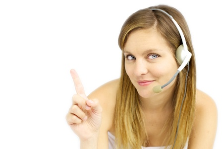 beautiful callcenter girl pointing to white space
