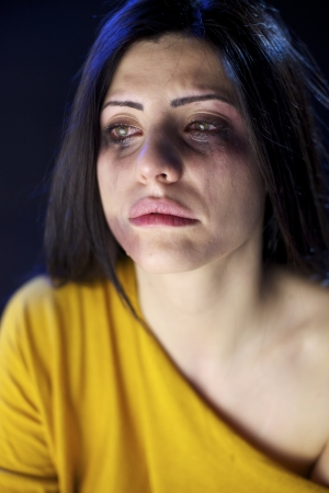 Woman abused crying sad and lonely strong domestic violence photo