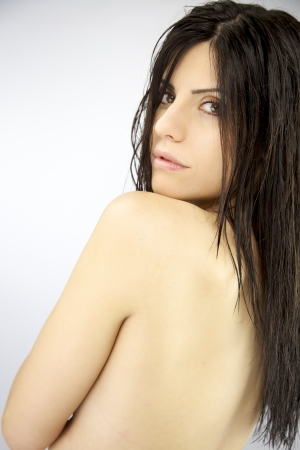 Beauty portrait of nude female model posing Stock Photo - 15560899