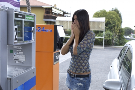 Beautiful female model scared about up price of gas photo